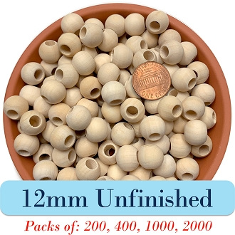 Round Wooden Beads 12mm, 5mm Opening, Unfinished Wood