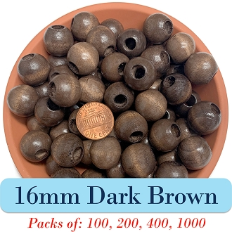 Round Wooden Beads 16mm, 5mm Opening, Matte Finish, Dark Brown