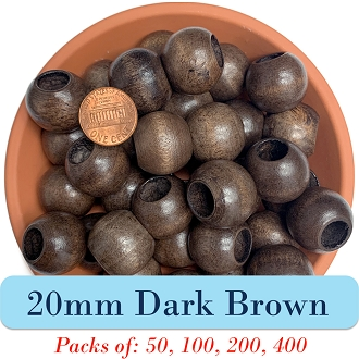Round Wooden Beads 20mm, 8mm Opening, Matte Finish, Dark Brown Walnut Wood