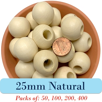 Round Wooden Beads 25mm, 8mm Opening, Matte Finish, Natural Wood