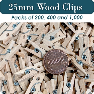 Clothes Pin Mini Wood Clips, 25mm