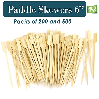 Bamboo Knife Paddle Pick Food Skewer, 6 Inch