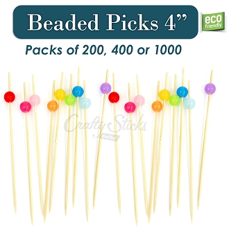 Food Safe Colorful Beaded Bamboo Picks, 4.75 Inch