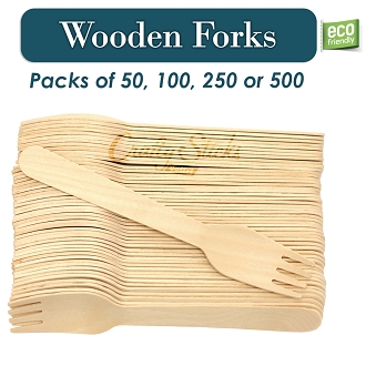 Disposable Wooden Forks Heavy Duty Eco-Friendly Utensils
