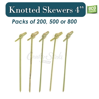 Bamboo Knotted Skewers Food Grade Picks, 4 Inch