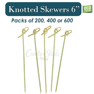 Bamboo Knotted Skewers Food Grade Picks, 6 Inch
