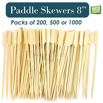 Bamboo Knife Paddle Pick Food Skewer, 8 Inch