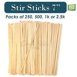 Wood Stir Sticks for Coffee, Hot Beverages, Eco-Friendly, 7 Inch