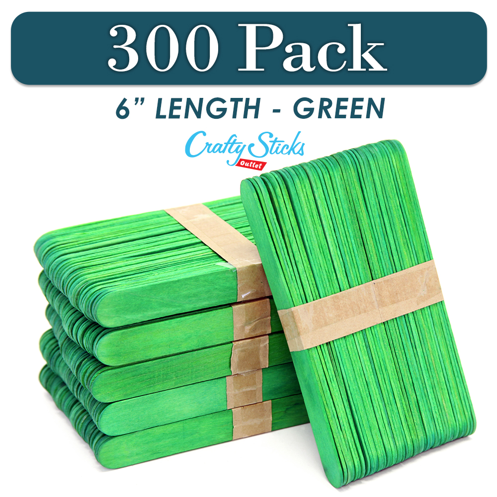 Black Jumbo Wood Craft Popsicle Sticks 6 Inch 300 Sticks