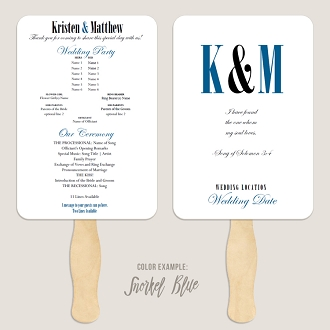 Ampersand and Initials Wedding Program Fan Template Automatic PDF Download -Cool Colors