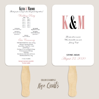 Ampersand and Initials Wedding Program Fan Template Automatic PDF Download -Warm Colors