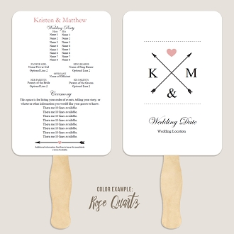 Crossed Arrows Wedding Program Fan Template Automatic PDF Download -Warm Colors