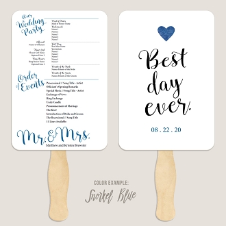Best Day Ever 1 Wedding Program Fan Template Automatic PDF Download -Cool Colors