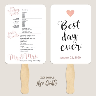 Best Day Ever 1 Wedding Program Fan Template Automatic PDF Download -Warm Colors