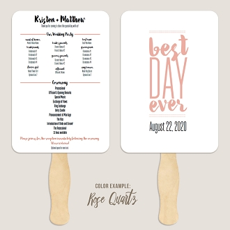 Best Day Ever 2 Wedding Program Fan Template Automatic PDF Download -Warm Colors