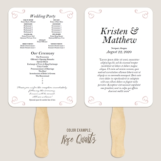 Border Scrolls 3 Wedding Program Fan Template Automatic PDF Download -Warm Colors