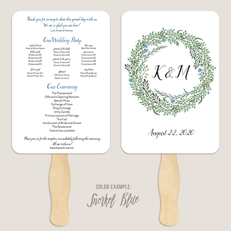 Botanical Wreath Wedding Program Fan Template Automatic PDF Download -Cool Colors