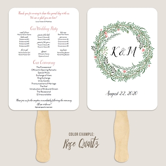 Botanical Wreath Wedding Program Fan Template Automatic PDF Download -Warm Colors