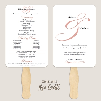 Elegant Ampersand Wedding Program Fan Template Automatic PDF Download -Warm Colors