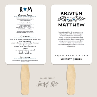 Fairy Tale Wedding Program Fan Template Automatic PDF Download -Cool Colors