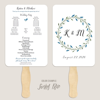 Floral Wreath Wedding Program Fan Template Automatic PDF Download -Cool Colors