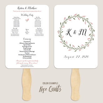 Floral Wreath Wedding Program Fan Template Automatic PDF Download -Warm Colors