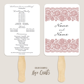 Chantilly Lace Wedding Program Fan Template Automatic PDF Download -Warm Colors