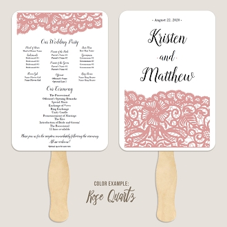 Crocheted Dutchess Lace Wedding Program Fan Template Automatic PDF Download -Warm Colors