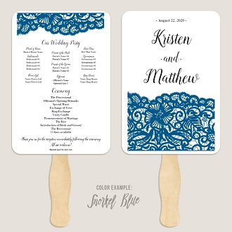 Crocheted Dutchess Lace Wedding Program Fan Template Automatic PDF Download -Cool Colors