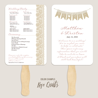 Mr and Mrs Wedding Program Fan Template Automatic PDF Download -Warm Colors