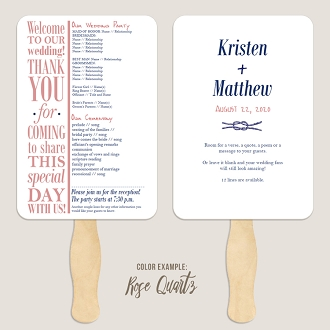 Nautical Knot Coastal Wedding Program Fan Template Automatic PDF Download -Warm Colors