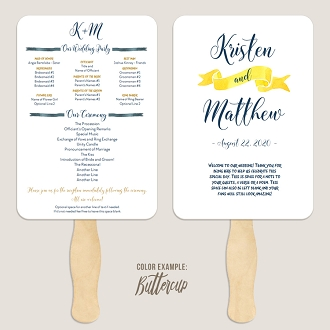 Nautical Watercolor Banner Wedding Program Fan Template Automatic PDF Download -Warm Colors