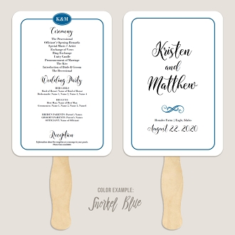 Simple Border Wedding Program Fan Template Automatic PDF Download -Cool Colors