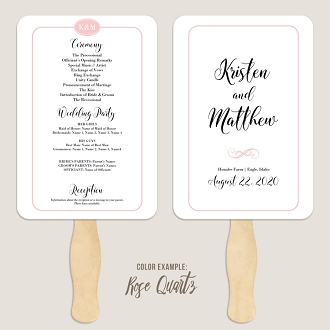 Simple Border Wedding Program Fan Template Automatic PDF Download -Warm Colors