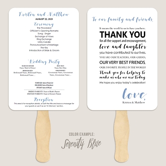 Thank You Message Wedding Program Fan Template Automatic PDF Download -Cool Colors