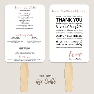 Thank You Message Wedding Program Fan Template Automatic PDF Download -Warm Colors