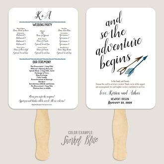 The Adventure Begins Arrows Wedding Program Fan Template Automatic PDF Download -Cool Colors