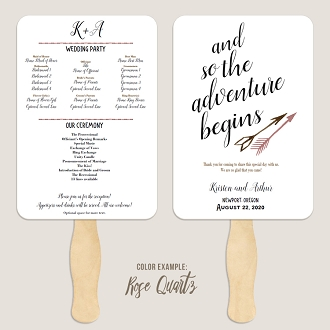 The Adventure Begins Arrows Wedding Program Fan Template Automatic PDF Download -Warm Colors