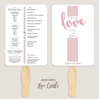 True Love Wedding Program Fan Template Automatic PDF Download -Warm Colors