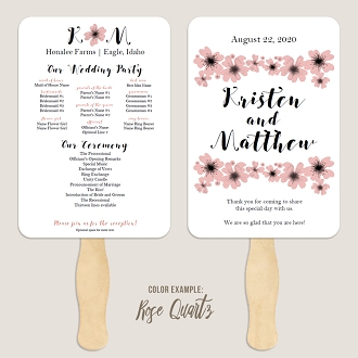 Watercolor Poppies Wedding Program Fan Template Automatic PDF Download -Warm Colors