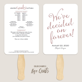 We've Decided on Forever Handwriting Font Wedding Program Fan Template Automatic PDF Download -Warm Colors