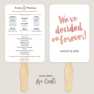 We've Decided on Forever Watercolor Wedding Program Fan Template Automatic PDF Download -Warm Colors