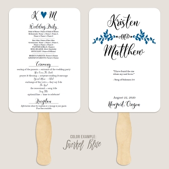 Whimsical Branches Wedding Program Fan Template Automatic PDF Download -Cool Colors