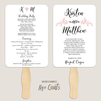 Whimsical Branches Wedding Program Fan Template Automatic PDF Download -Warm Colors
