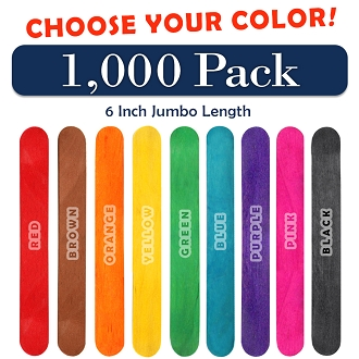 1000 Pack 6 Inch Jumbo Craft Popsicle Sticks -Choose Your Color
