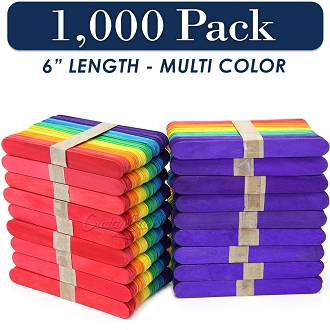 1000 Multi Color 6 Inch Jumbo Wooden Craft Popsicle Sticks