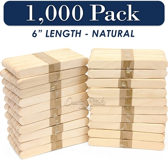 1000 Natural 6 Inch Jumbo Wooden Craft Popsicle Sticks