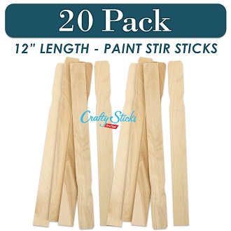 20 Pack 12Inch Wood Paint Sticks