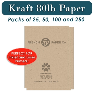 80 lb Card Stock Paper, Kraft 8.5 x 11 for Printers and Copiers