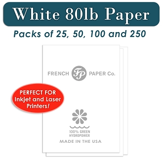 80 lb Card Stock Paper, White 8.5 x 11 for Printers and Copiers